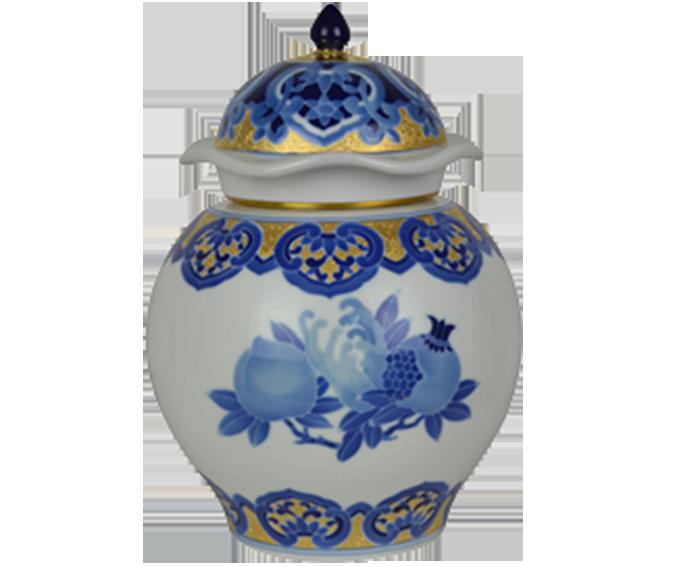 青花描金石榴茶叶罐