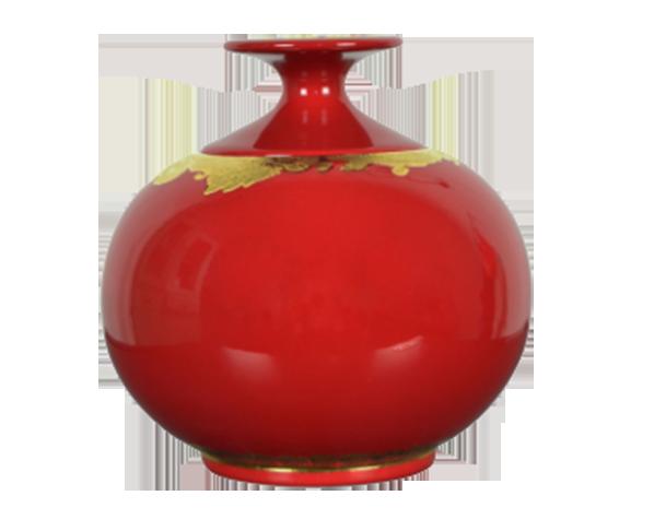 红釉描金茶叶罐